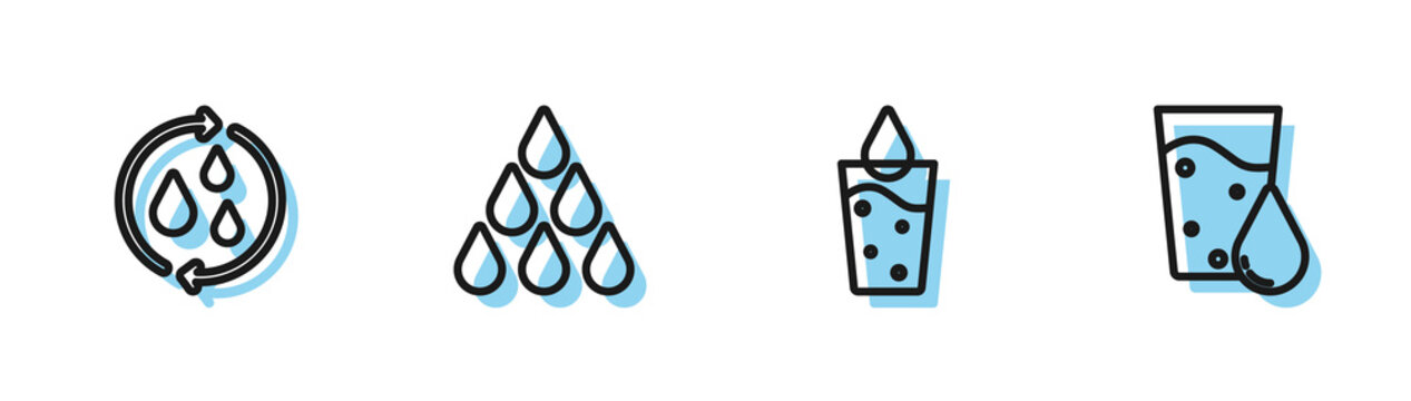 Set line Glass with water, Recycle clean aqua, Water drop and icon. Vector