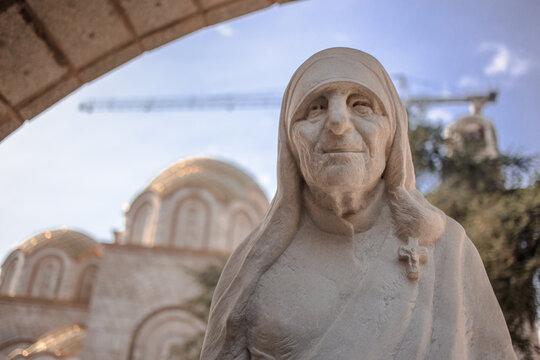 North Macedonia, Skopje, May 2020, Statue of Saint Mother Teresa