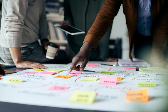 Close-up of business team brainstorming while working on mind map in the office.