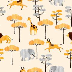 Modèle sans couture d& 39 animaux africains. Illustration aquarelle vectorielle de la savane avec des antilopes, des girafes, des lions et des éléphants