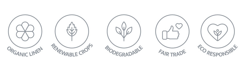 Fototapeta Sustainable clothes line icon set. Slow fashion badge. Organic cotton, natural dyes label. Eco viscose product logo. Fair trade. Conscious development. Ethical manufacturing. Vector illustration obraz