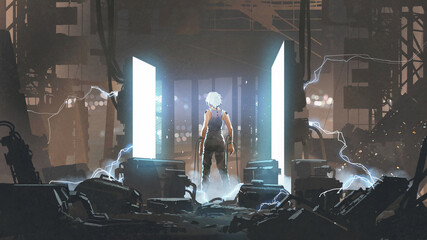 Self adhesive Wall Murals Grandfailure humanoid standing in an abandoned laboratory. digital art style, illustration painting