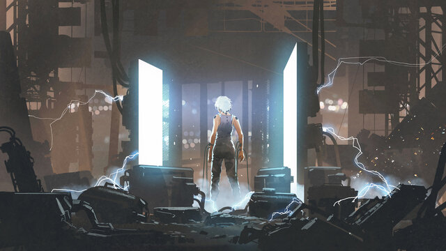 humanoid standing in an abandoned laboratory. digital art style, illustration painting