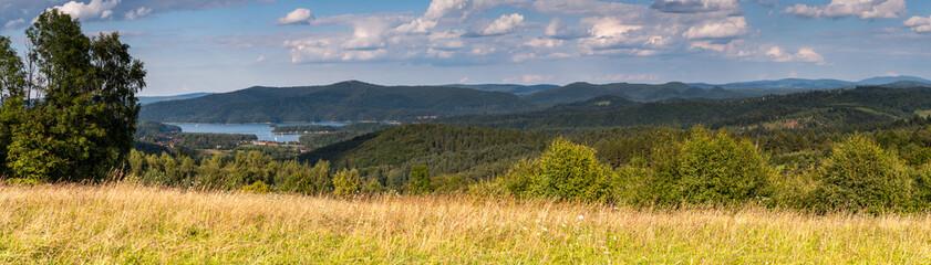 View from Wierchy Rybczańskie to Lake Solińskie and the Bieszczady Mountains, Polanczyk, Solina /...