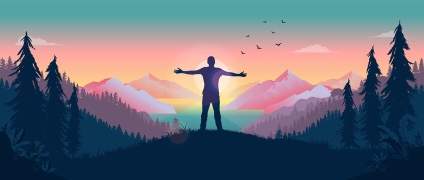 Having a personal adventure - Person standing in front of sun with arms out, watching the beauty of nature and feeling the warmth of the sun. Happiness and personal freedom concept. Vector