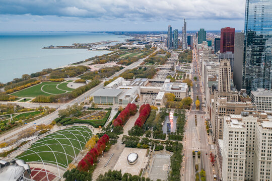 Aerial view of Jay Pritzker Pavillon near Millenium Park with Chicago downtown in foreground along Michigan Lake, Chicago, Illinois, United States.