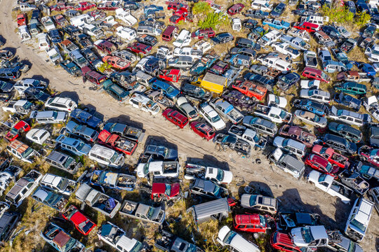 Aerial view of vehicles wreck in a junkyard in Mims, Florida, United States.