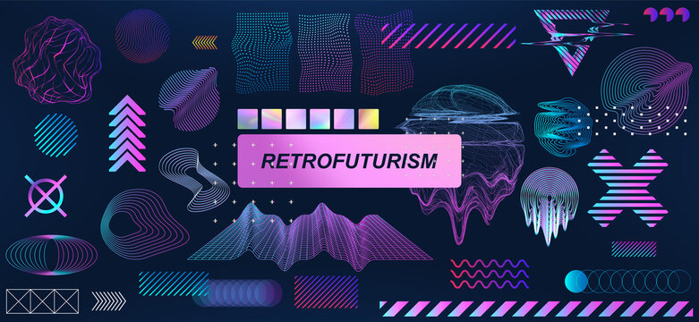 Trendy retrofuturistic holographic collection in vaporwave style in 80s-90s. Old wave cyberpunk concept. Shapes design elements for disco genre, retro party or themed event. Neon shapes with glitch