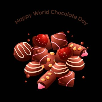 Vector illustration. Lettering World chocolate day. Idea for poster, postcard.