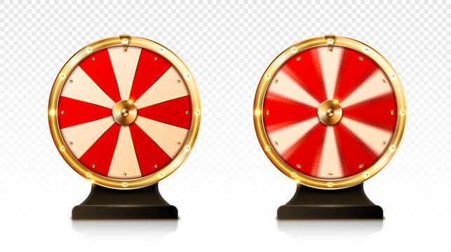Fortune wheel spin, casino lucky roulette game of chance with money prizes, lose and jackpot win sectors. Gambling lottery or raffle online entertainment, amusement, Realistic 3d vector illustration