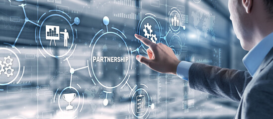 Obraz Partnership of companies. Collaboration. Business Technology Internet concept - fototapety do salonu