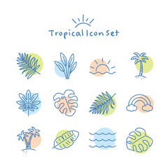 Fototapeta Vector hand drawn tropical summer icon set obraz
