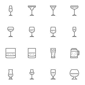 Bar drinks line icons set