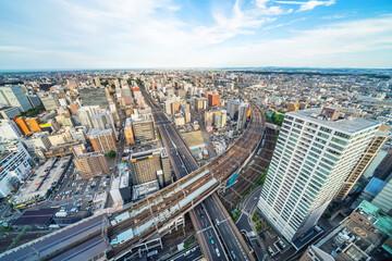 city skyline aerial view of Sendai in Japan - fototapety na wymiar
