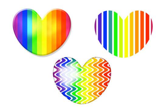 love heart rainbow pride illustration icon symbol set for holiday event celebration