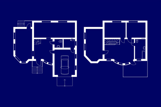 Blueprints floor plans of a suburban house. Vector Illustration.