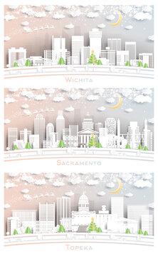 Topeka, Wichita Kansas and Sacramento California USA City Skyline Set.