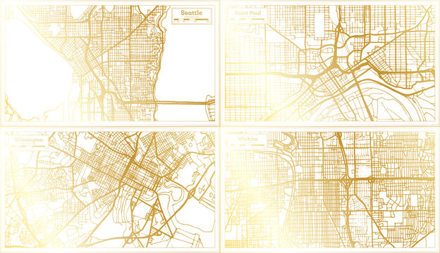 Wilmington, Saint Paul, Wichita and Seattle USA City Map Set.