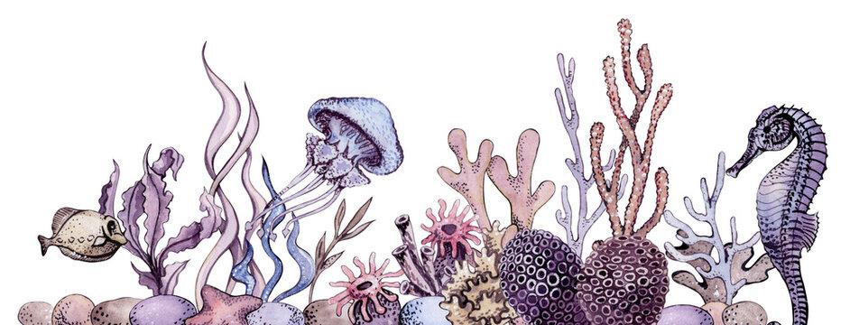 Watercolor Under the Sea Composition Border, Sea life art, Ocean Bottom Bouquets, Underwater