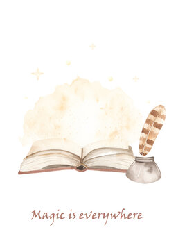 Watercolor card with open magic book, sparkles. Magic is everywhere.
