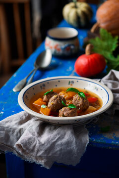 Pumpkin soup with meatball..style rustic