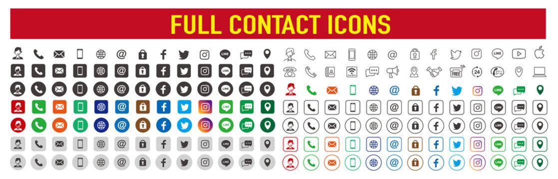 Set of contact social media logos icons
