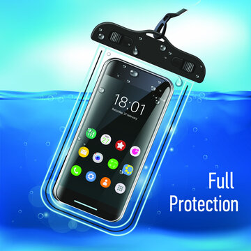 Realistic close-up. Vector graphics. Waterproof case for smartphone for underwater shooting.