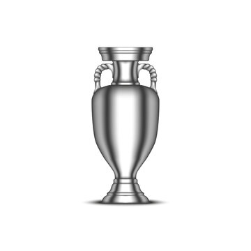 European Championship cup, football sports trophy realistic vector 3d model isolated on white background