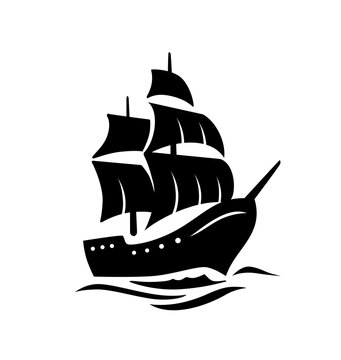 Sailing old ship silhouette. Vector