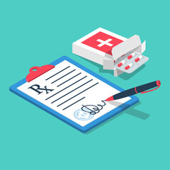 Fototapeta Blister pills issued by prescription. Clipboard with a pen. Medical Rx prescription form. Vector illustration isometric 3d design style. obraz