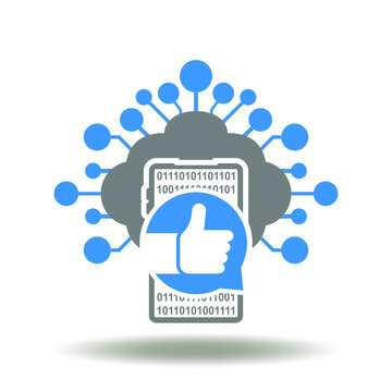 Cloud computing with circuit line and smartphone with speech bubble and thumb up vector illustration. Netiquette symbol.