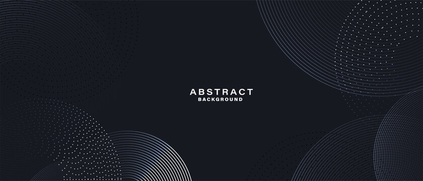 Abstract black background with white circle rings. Digital future technology concept. vector illustration.
