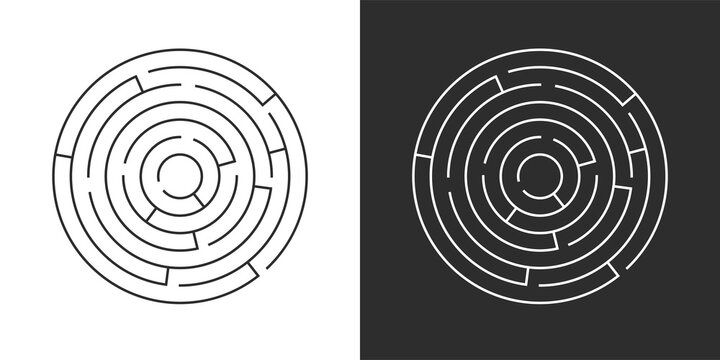 Circle maze set. Labyrinth template on white and black background. Vector illustration isolated.