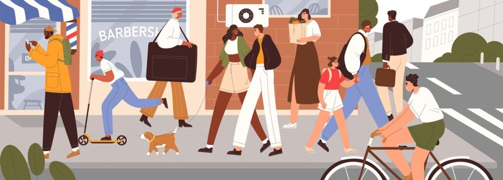 Busy people traffic on modern city street. Summer cityscape with happy pedestrians, cyclist on bicycle, kid on scooter, couple with dog walking. Colored flat vector illustration of urban panorama