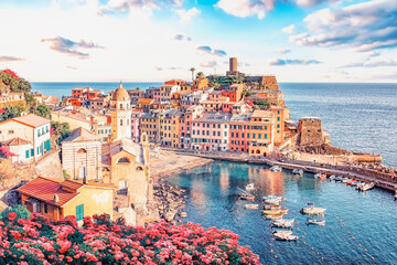 Vernazza village in Cinque Terre national park at sunset, Italy - fototapety na wymiar