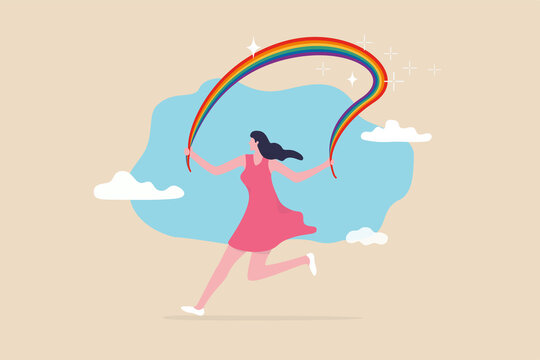 Embrace LGBT rainbow pride, equality and freedom in gender, lesbian, gay, bisexual and transgender concept, happy beautiful transgender woman running while holding rainbow pride.