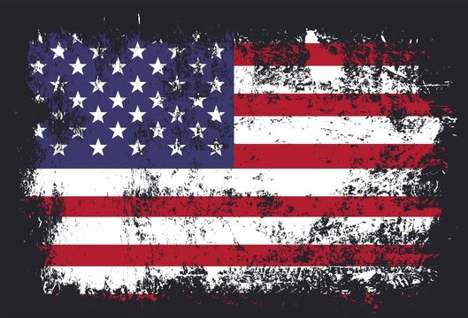 Vector grunge flag of USA on black background. American flag with grunge texture