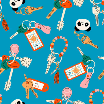 Various Keys with different Keychains. Keyholders and keyrings collection. Modern keys with pendants. Hand drawn Vector seamless Pattern. Blue background. Wrapping, textile template