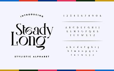 Fototapeta Classic lettering minimal fashion design. Elegant typography alphabet a to z and number. Vector illustration obraz