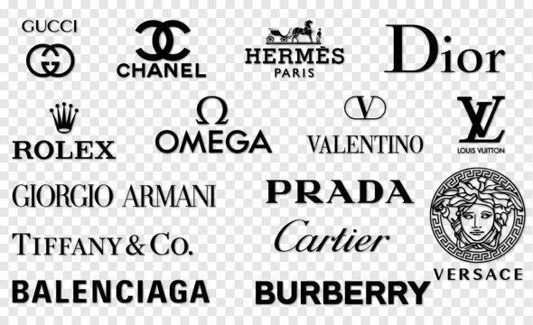 Vinnytsia, Ukraine - May 30, 2021: Popular luxury brands. Gucci, Chanel, Hermes, Dior, Louis Vuitton, Rolex, Tiffany Prada Versace Armani Valentino Balenciaga Cartier Burberry Omega