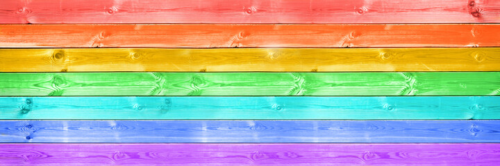 Obraz Pastel colorful rainbow painted wood planks panoramic background. Rainbow flag, LGBTQ pride web banner - fototapety do salonu