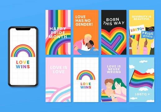 LGBTQ and Pride Month Layout Set