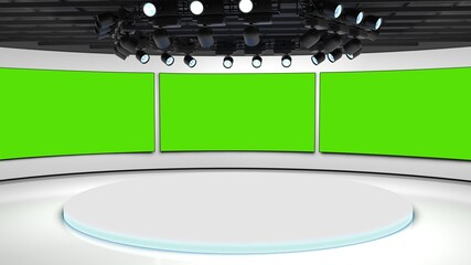 Obraz Tv studio. News room. Blye and red background. General and close-up shot. News Studio. Studio Background. Newsroom bakground. The perfect backdrop for any green screen or chroma key video production - fototapety do salonu