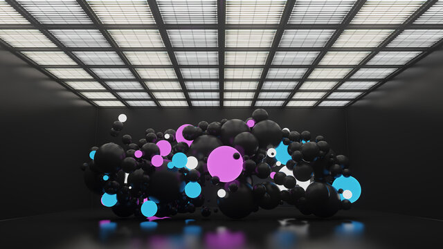3d render of sphere or balls with illumination and reflective ones are interacting inside of dark clean interior with lamps and empty walls.