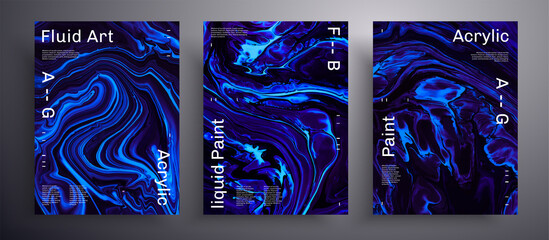 Obraz Abstract acrylic poster, fluid art vector texture pack. Trendy background that applicable for design cover, invitation, presentation and etc. Purple, aquamarine and black creative iridescent artwork. - fototapety do salonu
