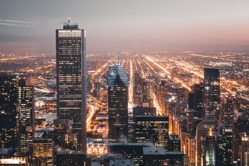 View of Chicago with the city lights lit up at night.