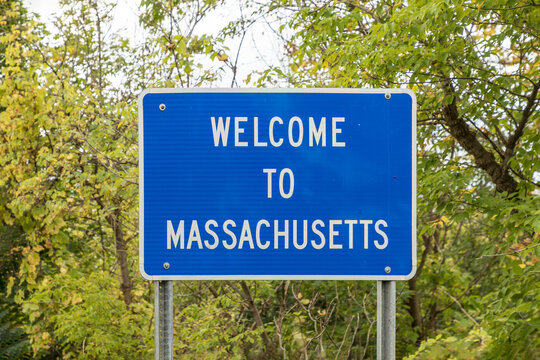 welcome sign to Massachusetts