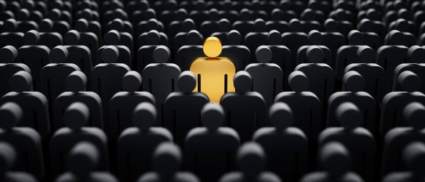 Goldenes Individuum in der Menge - Konzept Leadership und Excellence