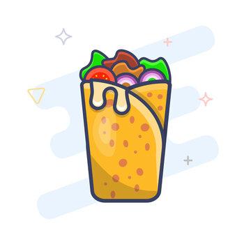 Shawerma sandwich flat outline icon. Shawarma wrap vector illustration. Kebab wrap durum icon.