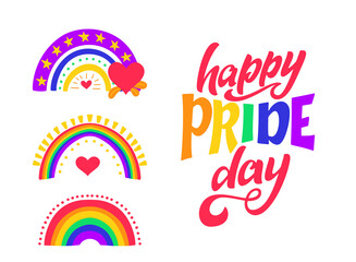 Obraz Happy pride day lettering quote. LGBT slogan with rainbows. Human rights and tolerance. Hand drawn poster. Vector illustration - fototapety do salonu